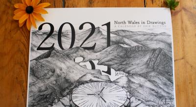 Front of hand drawn North Wales calendar