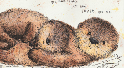 Hand drawn image of otters
