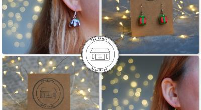 Collage of Christmas earrings