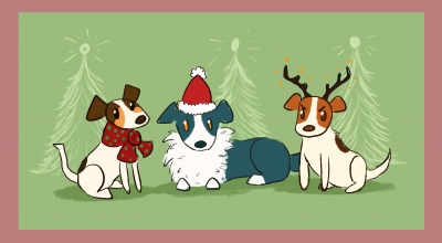Illustration of christmas dogs